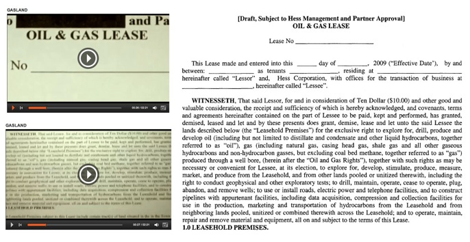 Comparison of frames from Gasland movie (4:06) with the draft NWPOA lease.  They are the same document.  Josh Fox used a draft lease from a year later to argue he was offered $100,000 in 2008.