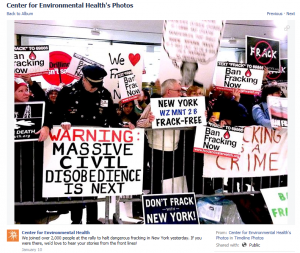 "After attending a ""rally to halt dangerous fracking"" in New York, CEH shared this photo of the event with the request that their followers share their stories from the ""front lines."""
