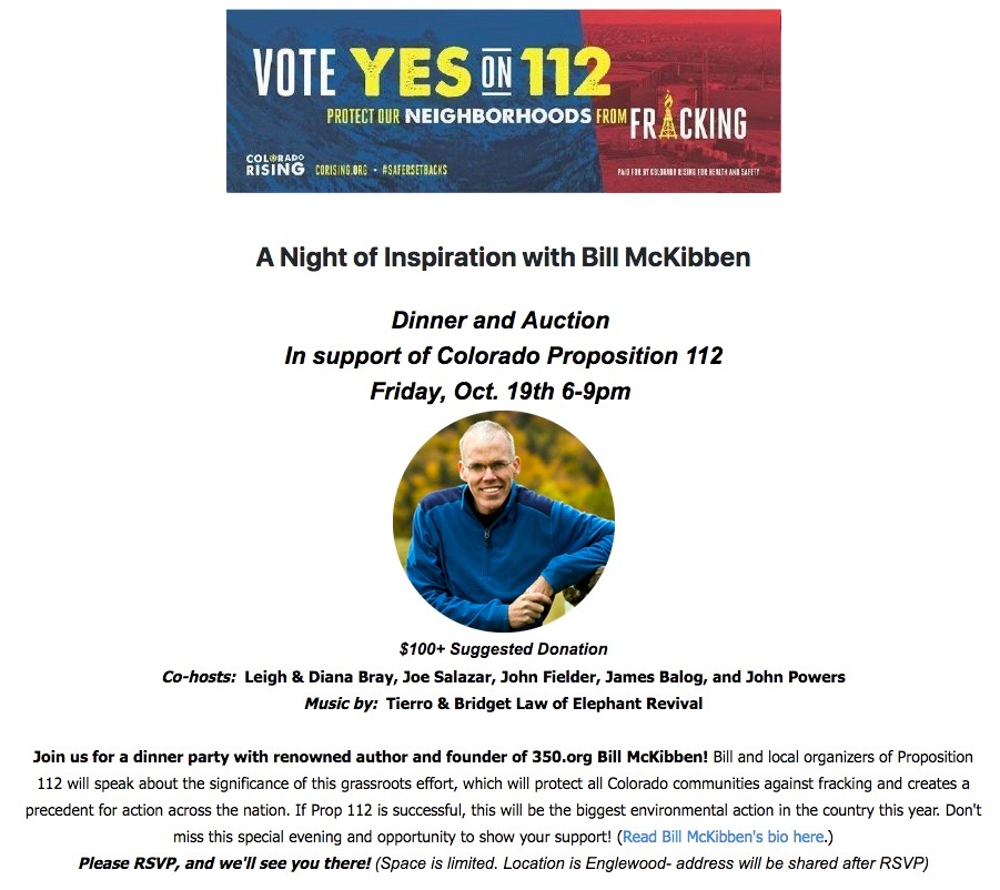 McKibben's 'Night of Inspiration' Again Confirms Prop 112 is Really About Banning Fracking